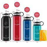 Trinkflasche Edelstahl ACTIVE FLASK + Strohhalm (3 Deckel) BPA-frei, Auslaufsicher, Kohlensäure geeignet - Wasserflasche Fahrrad Thermosflasche Isoliert Isolierflasche Sport Wasser Flasche Kinder Tee - 3