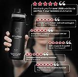 Trinkflasche Edelstahl ACTIVE FLASK + Strohhalm (3 Deckel) BPA-frei, Auslaufsicher, Kohlensäure geeignet - Wasserflasche Fahrrad Thermosflasche Isoliert Isolierflasche Sport Wasser Flasche Kinder Tee - 5