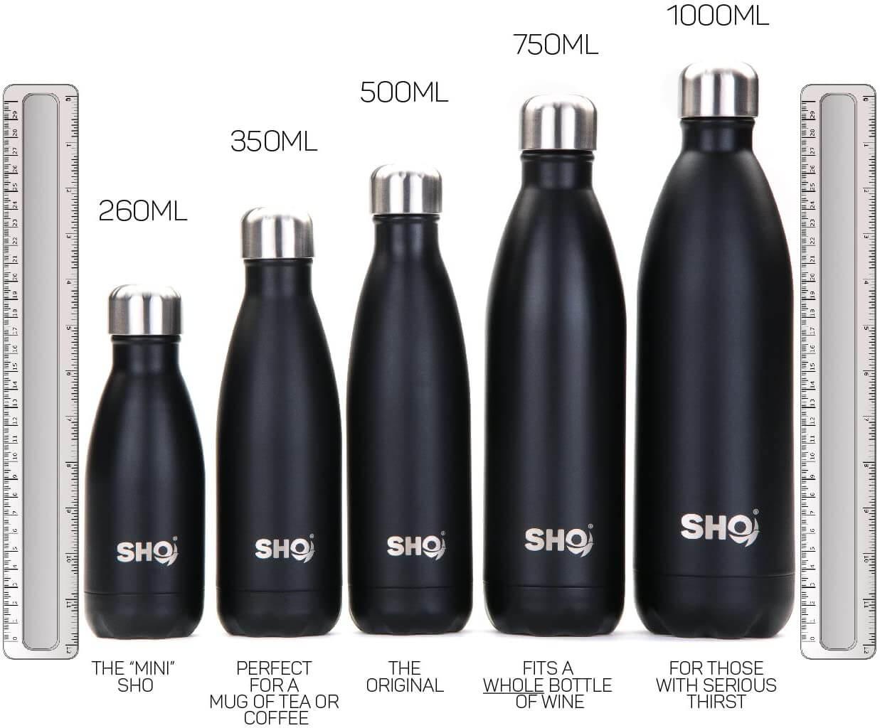 SH Online Edelstahl Trinkflasche Größenvergleich
