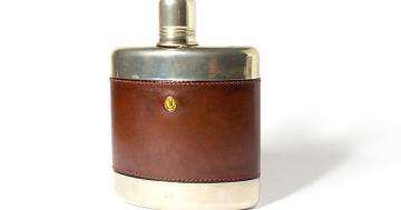 Flachmann - Edelstahltrinkflasche mit Leder