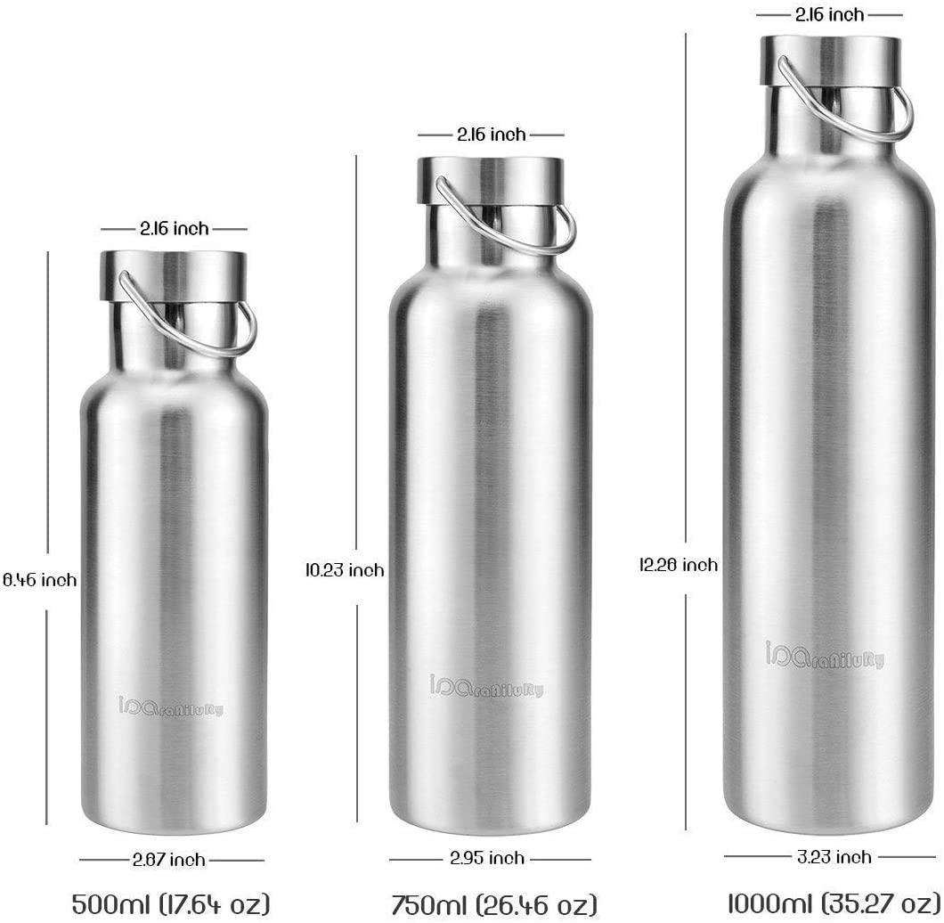 iParaAiluRy Edelstahl Trinkflasche Silber